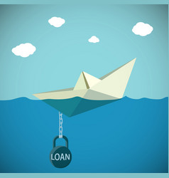 paper boat chained to the weight vector image