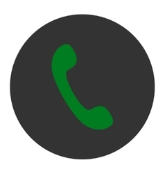 Phone flat green and gray colors round button vector