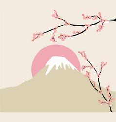 Pink floral branch and mount fuji vector