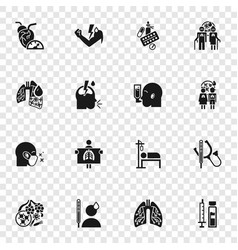 Pneumonia icon set simple style vector