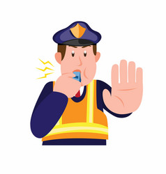 Police patrol stop symbol with blowing whistle vector
