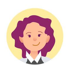 Portrait joyful woman closeup icon in circle vector