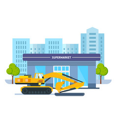 process building university with transport crane vector image