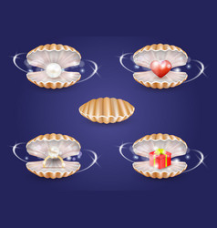 Realistic pearl seashells with jewelry vector