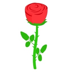 Red rose icon isometric 3d style vector image