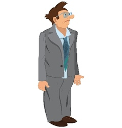 Retro hipster man standing in gray jacket and vector image