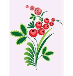 Rowan berries branch with berrie and leaves on vector image