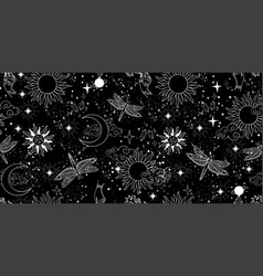 seamless mystical pattern universe with stars vector image