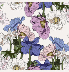 seamless pattern line colored vintage flowers vector image