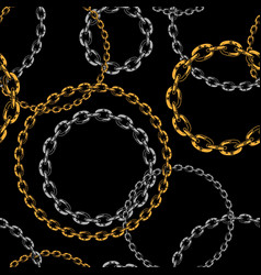 seamless pattern metal chains brushes vector image