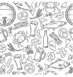 seamless pattern pub food and beer vector image