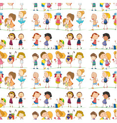 Seamless pattern tile cartoon with doolde kids vector