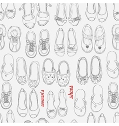 Seamless pattern with a woman shoes vector