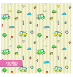 Seamless pattern with cartoon vans vector