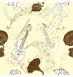 Seamless pattern with music vector image