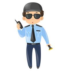 Security guard in blue uniform vector