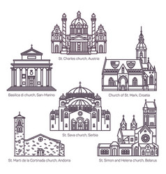 set isolated religion churches in thin line vector image