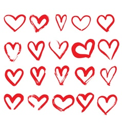 Set of Hand Drawn Hearts Red Color vector