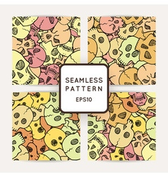 Set of seamless pattern with random skulls vector