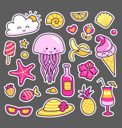 set of summer stickers jellyfish ice cream vector image