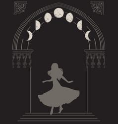silhouette gypsy woman in gothic arch with moon vector image