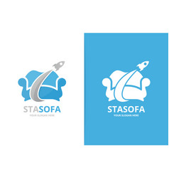 sofa and rocket logo combination unique armchair vector image
