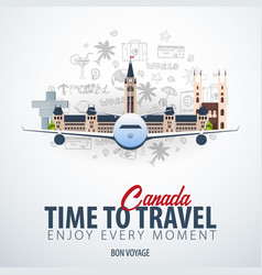 travel to canada time to travel banner with vector image