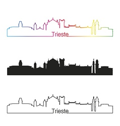 Trieste skyline linear style with rainbow vector image
