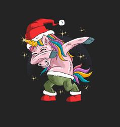 unicorn with santa hat graphic vector image
