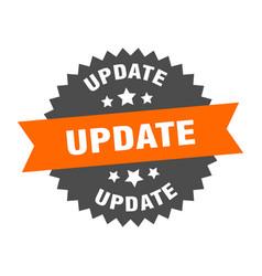 Update sign update orange-black circular band vector