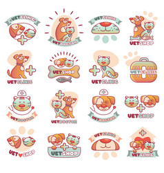 veterinary pets clinic animal badges logotypes vector image vector image