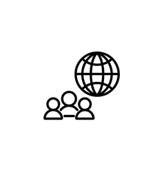 web line icon international business group vector image