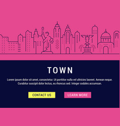 website banner and landing page town vector image