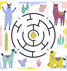 Which llama gets to cactus funny maze game vector