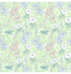 Wild flowers seamless pattern vector