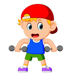 Young boy doing weightlifting vector