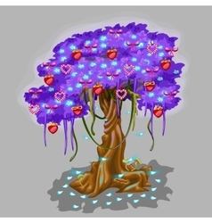 Fantastic tree with strawberry and heart toy vector image vector image