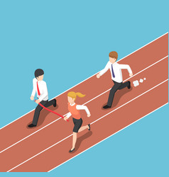 isometric business rival hold finish line away vector image vector image