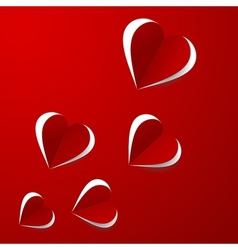 Red paper hearts vector image