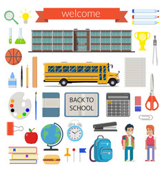 school student stationery supplies set vector image