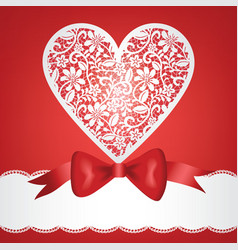 bow and lace heart vector image vector image