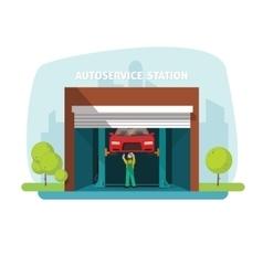 Car repair help garage auto service center with vector