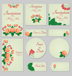 collection greeting cards with stylized orange vector image vector image