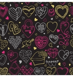 Hearts hand drawing doodlesSeamless pattern vector image