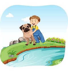 Little boy and dog by the river vector image
