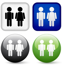 male female buttons vector image vector image