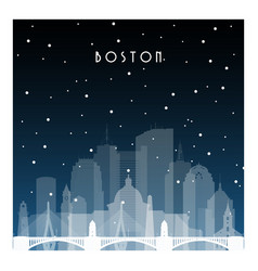winter night in boston night city in flat style vector image vector image