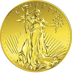 American money gold coin with the image of Liberty vector image vector image