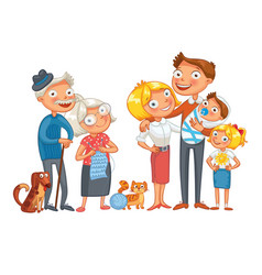 big happy family funny cartoon character vector image
