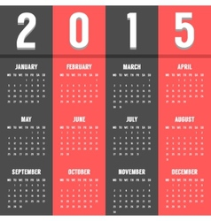 black and red european calendar of 2015 year vector image